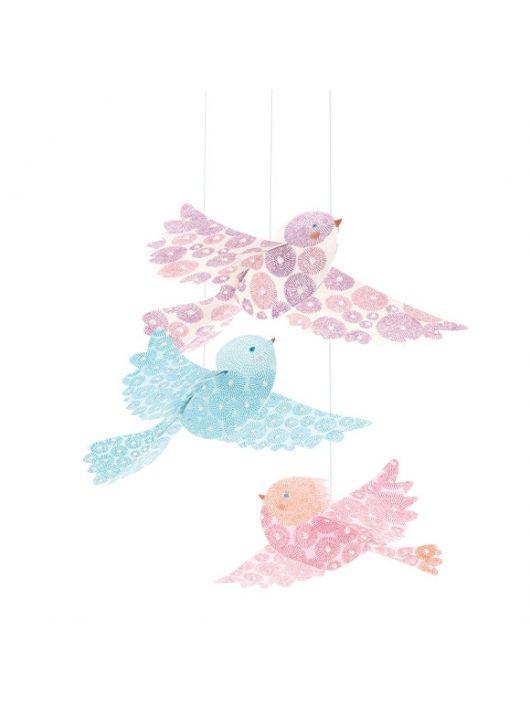 DJECO - LITTLE BIG ROOM 3D-s függödísz - Csillámló madarak - Glitter birds