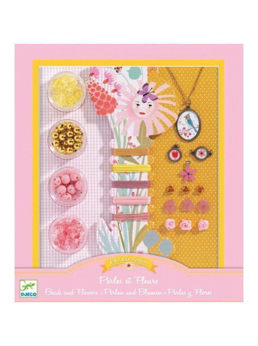 Ékszerkészító készlet - Gyöngyök és virágok - Pearls and flowers Djeco