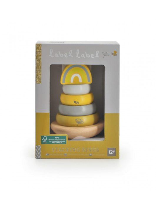 Label Label fa játék toronyépítő sárga