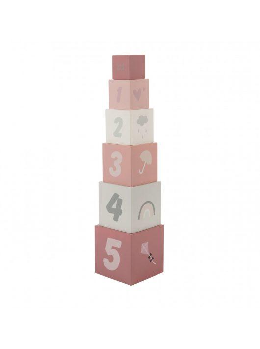 Label Label fa játék toronyépítő számokkal rózsaszín