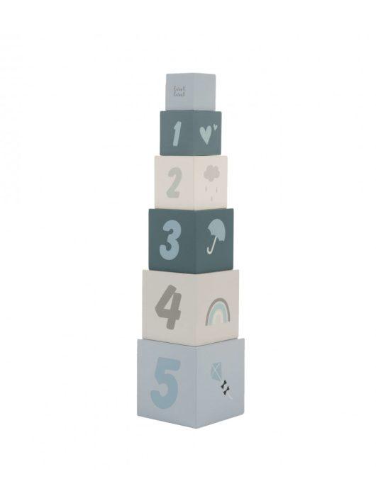 Label Label fa játék toronyépítő számokkal kék